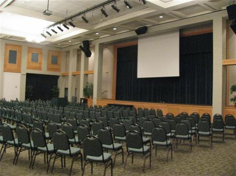 Chairs set-up for an indoor theater